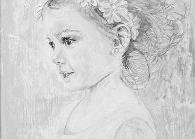 "<em>Flower Girl</em>, acrylic on panel, 24"" x 36"""