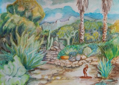"<em>Back Yard, Tucson</em>, watercolor, 9"" x 12"""