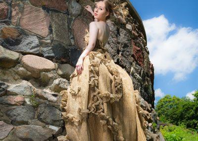 "<em>Burlap Dress B</em> (Haute Couture Rustic), Wearable Fiber - Burlap, 8' x 36"""