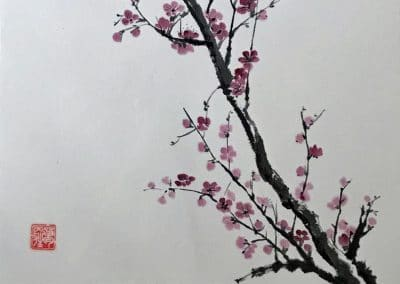 "<em>Cherry Blossom</em>, Chinese Brush Painting mounted over silk fabric, 14"" x 27"""