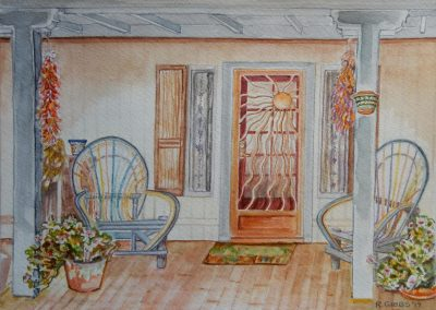 "<em>Front Porch, Tucson</em>, watercolor, 9"" x 12"""