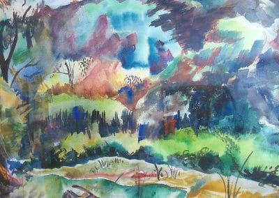 "<em>Landscape with Pond</em>, watercolor, 19"" x 28"""