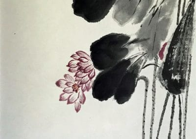 <em>Lotus Flower</em>, Chinese Brush Painting mounted over silk fabric with scroll