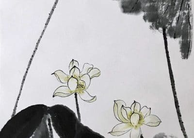 "<em>Lotus Flowers</em>, Chinese Brush Painting mounted over silk fabric, 14"" x 26"""