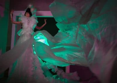 "<em>Mail Order Bride</em>, Wearable Fiber - Bubble wrap, packaging tape, plastic sheeting, crochet, 12' x 20"""