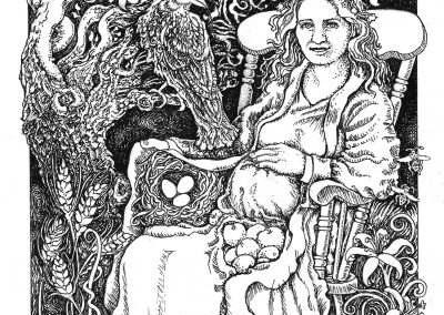 """<em>The Empress</em>, pen and ink drawing on illustration board, 5"""" x 7"""""""