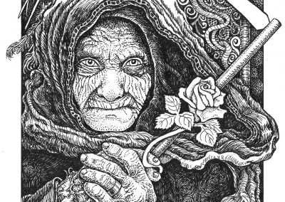 """<em>Death</em>, pen and ink drawing on illustration board, 5"""" x 7"""""""