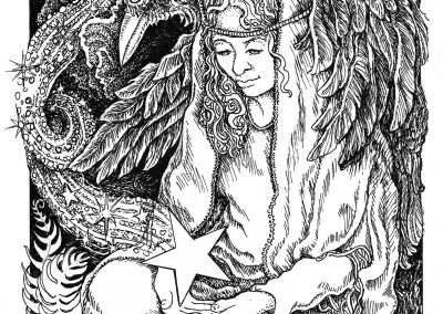 "<em>The Star</em>, pen and ink drawing on illustration board, 5"" x 7"""