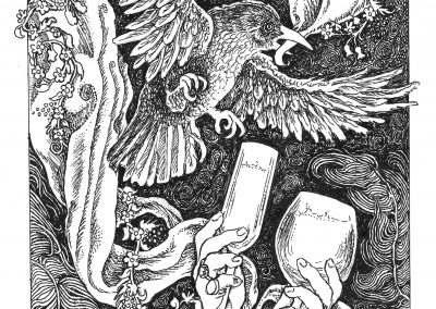 """<em>Cups 2</em>, pen and ink drawing on illustration board, 5"""" x 7"""""""