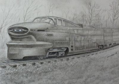 <em>Streamliner</em>, silverpoint on prepared paper