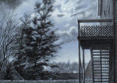 <em>Moonlit Balcony</em>, charcoal