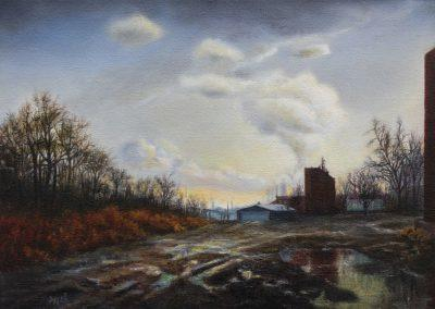 <em>Factory at Twilight</em>, oil on canvas
