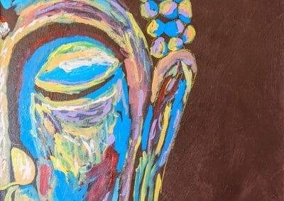 """<em>Buddha</em>, acrylic on canvas, 42"""" x 24"""", 2019"""