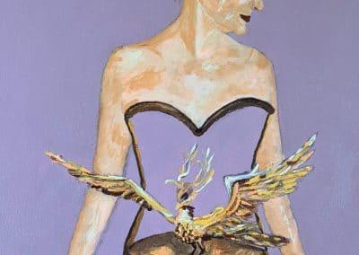 """<em>Phoenix</em>, acrylic on canvas, 31"""" x 31"""", 2019"""